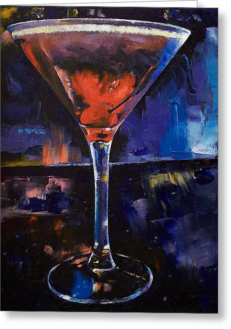 Backstage Martini Greeting Card by Michael Creese