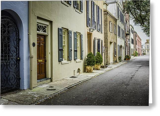 Row Homes Greeting Cards - Backstreet  Greeting Card by Wendy Mogul