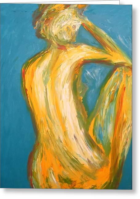 Posters Of Nudes Paintings Greeting Cards - Backswept Greeting Card by Esther Newman-Cohen
