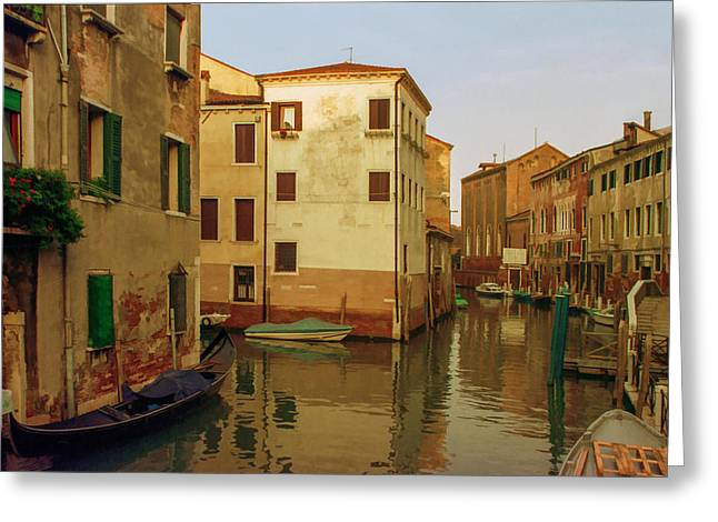Italian Landscapes Mixed Media Greeting Cards - Backwaters of  of Venice Greeting Card by Cliff Wassmann