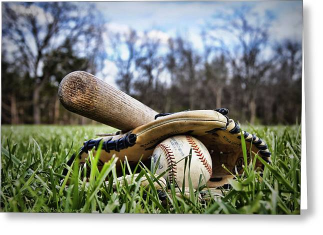 Recently Sold -  - Glove Greeting Cards - Backyard Baseball Memories Greeting Card by Cricket Hackmann