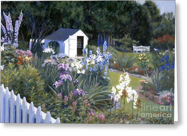 Backyard Blues Greeting Card by Candace Lovely