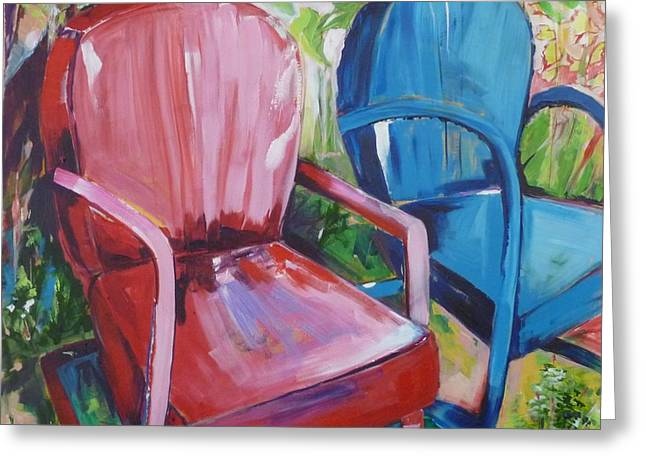Backyard Chairs Greeting Card by Suzanne Willis