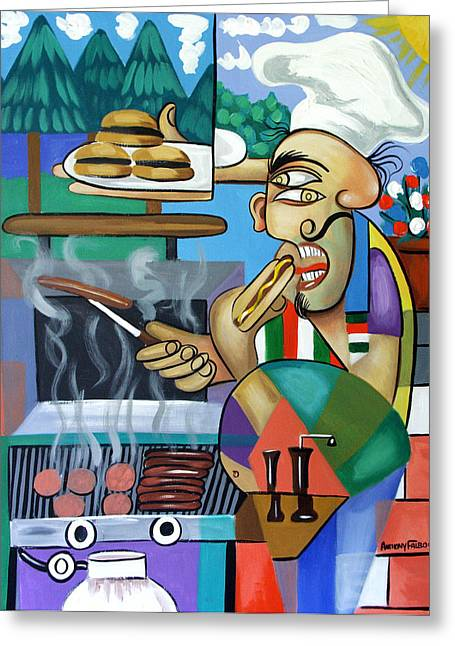 Hamburger Greeting Cards - Backyard Chef Greeting Card by Anthony Falbo
