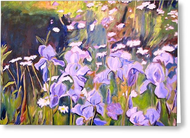 Kitchener Paintings Greeting Cards - Backyard Garden III Greeting Card by Sheila Diemert
