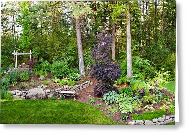Backyard Garden In Loon Lake, Spokane Greeting Card by Panoramic Images