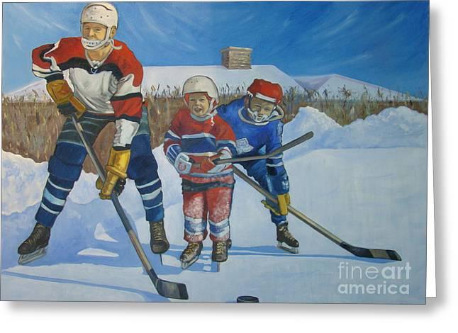 Backyard Ice Hockey Greeting Card by Christina Clare