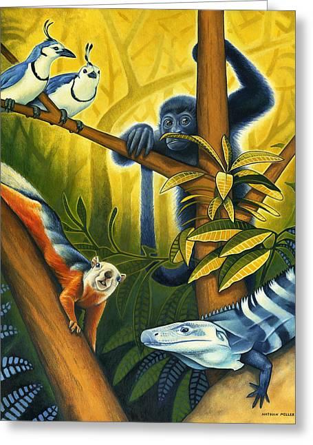 Nathan Miller Greeting Cards - Backyard Jungle Greeting Card by Nathan Miller