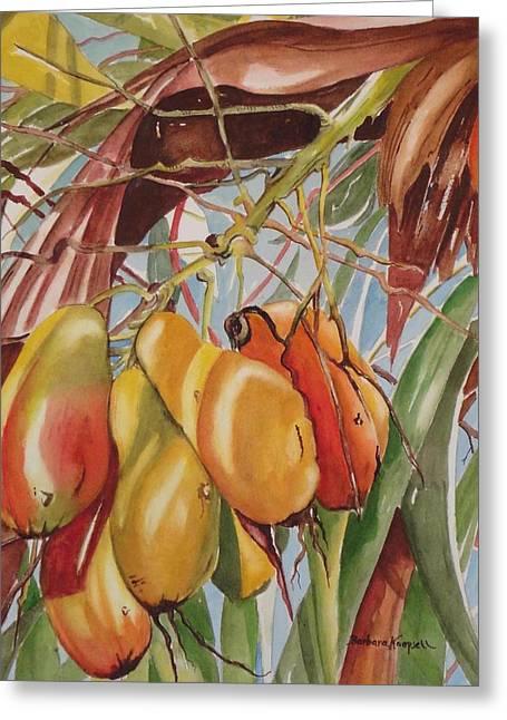 Mango Paintings Greeting Cards - Backyard Mangoes Greeting Card by Barbara Koepsell