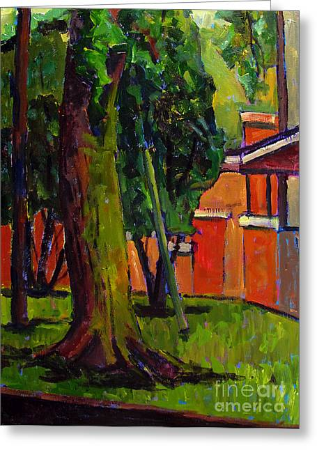Complimentary Greeting Cards - Backyard of 267 West Greeting Card by Charlie Spear