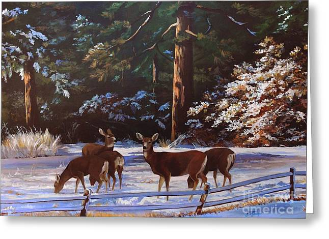 Backyard Visitors Greeting Card by Suzanne Schaefer