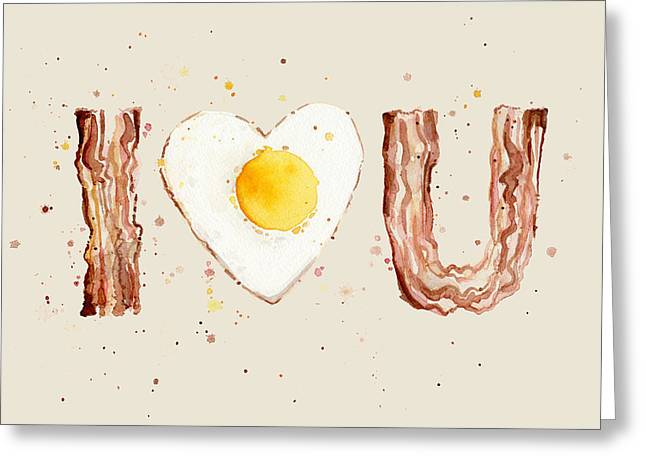 Bacon Greeting Cards - Bacon and Egg I Heart You Watercolor Greeting Card by Olga Shvartsur