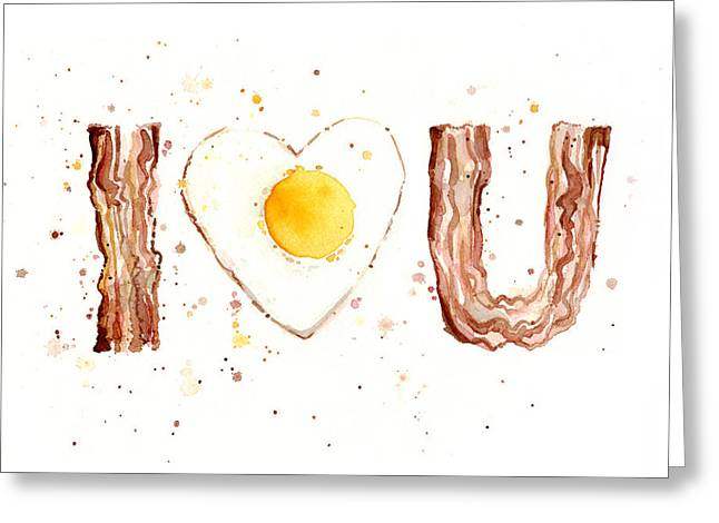 Bacon Greeting Cards - Bacon and Egg I Love You Greeting Card by Olga Shvartsur