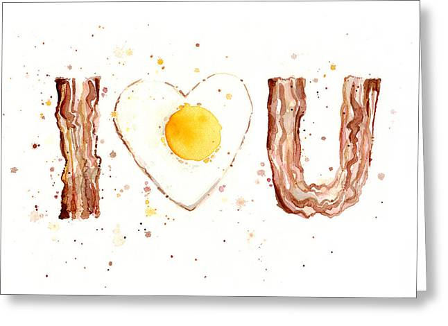 Ron Ron Greeting Cards - Bacon and Egg I Love You Greeting Card by Olga Shvartsur