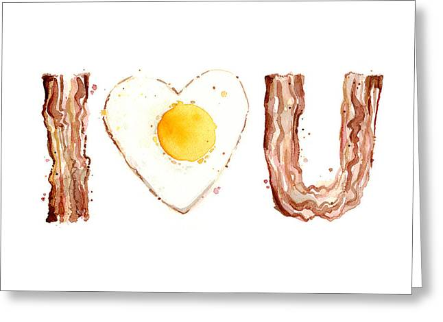 Unique Paintings Greeting Cards - Bacon and Egg LOVE Greeting Card by Olga Shvartsur