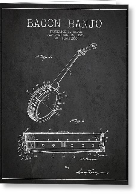 Banjo Greeting Cards - Bacon Banjo Patent Drawing From 1929 - Dark Greeting Card by Aged Pixel