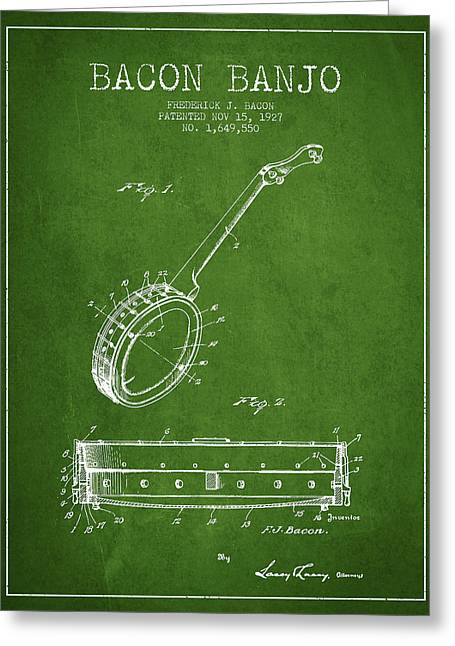 Banjo Greeting Cards - Bacon Banjo Patent Drawing From 1929 - Green Greeting Card by Aged Pixel
