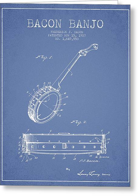 Banjo Greeting Cards - Bacon Banjo Patent Drawing From 1929 - Light Blue Greeting Card by Aged Pixel