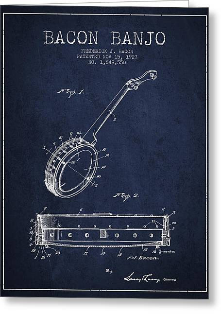 Banjo Greeting Cards - Bacon Banjo Patent Drawing From 1929 - Navy Blue Greeting Card by Aged Pixel