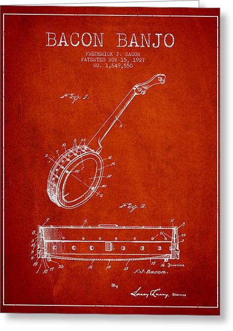 Banjo Greeting Cards - Bacon Banjo Patent Drawing From 1929 - Red Greeting Card by Aged Pixel