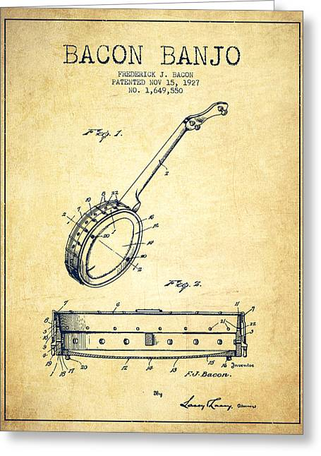 Banjo Greeting Cards - Bacon Banjo Patent Drawing From 1929 - Vintage Greeting Card by Aged Pixel