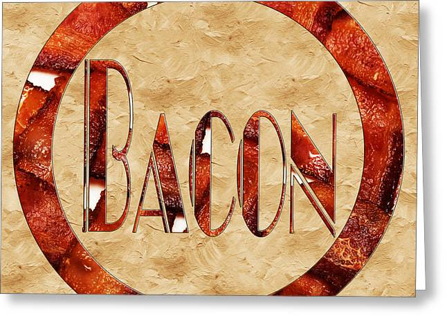 Bacon Typography 1 Greeting Card by Andee Design