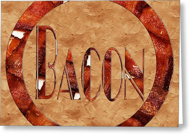 Thin Greeting Cards - Bacon Typography 2 Greeting Card by Andee Design