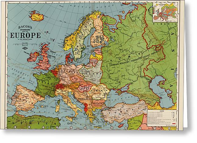 Europe Drawings Greeting Cards - Bacons Standard Map of Europe - circa 1920 Greeting Card by Blue Monocle