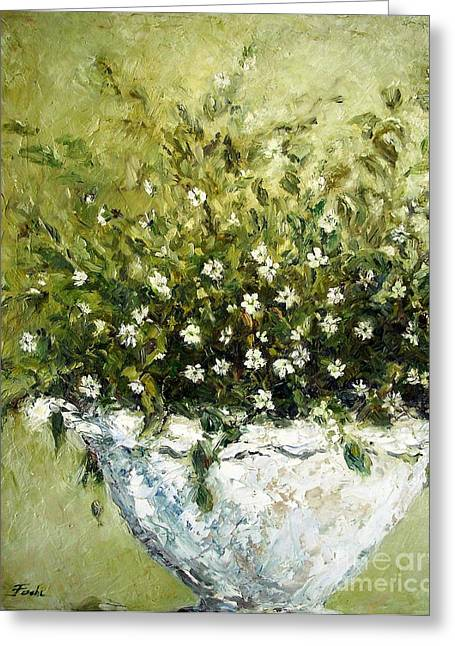 Plaster Of Paris Greeting Cards - Bacopa Urn Greeting Card by Doria Fochi