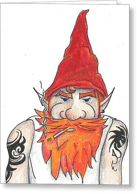 Bad Ass Drawings Greeting Cards - Bad Ass Gnome Greeting Card by Tracy Fitzgerald