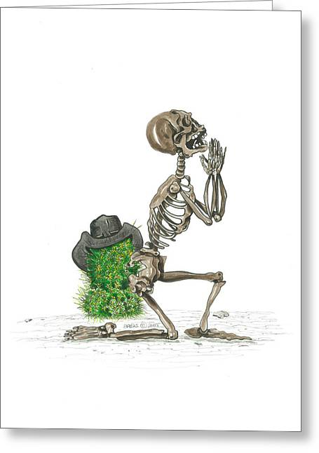 Knelt Mixed Media Greeting Cards - Bad Cowboy Greeting Card by Richard Brooks