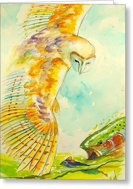 """rainbow Trout"" Greeting Cards - Bad day for a swim  Greeting Card by Yusniel Santos"