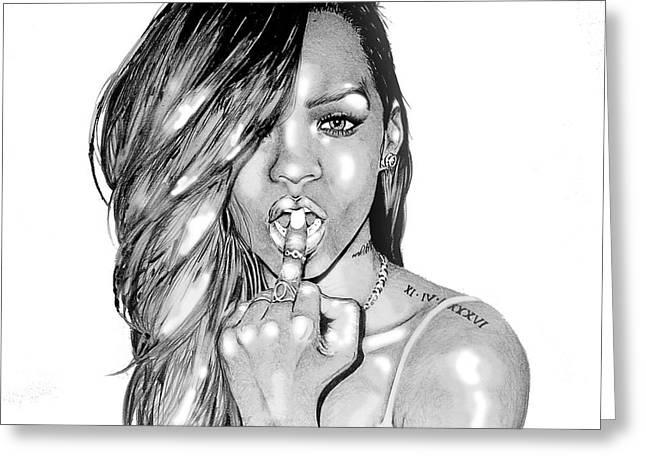 Webstagram Greeting Cards - Bad gal Rihanna Greeting Card by Mike Sarda