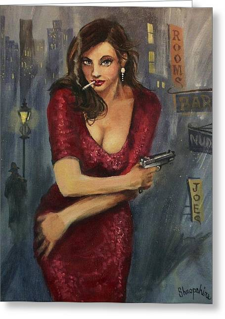 Film Noir Paintings Greeting Cards - Bad Girl Greeting Card by Tom Shropshire