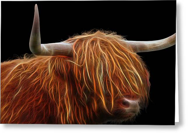 Hairdressing Greeting Cards - Bad Hair Day - Highland Cow Square Greeting Card by Gill Billington
