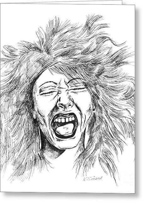 Bad Drawing Greeting Cards - Bad Hair Day Greeting Card by Karen Sirard