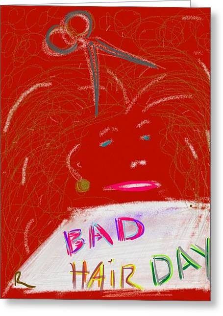 Gold Earrings Digital Art Greeting Cards - Bad Hair Day Greeting Card by Richard Fruge