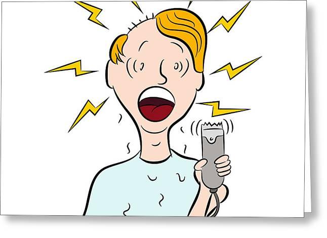 Bad Drawing Greeting Cards - Bad Haircut Greeting Card by John Takai