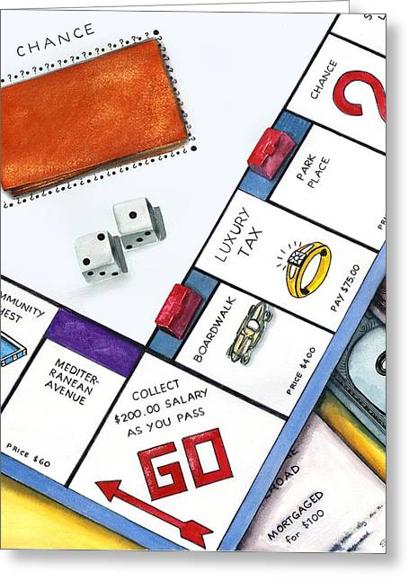 Monopoly Greeting Cards - Bad Luck on Boardwalk Greeting Card by Sandi Howell