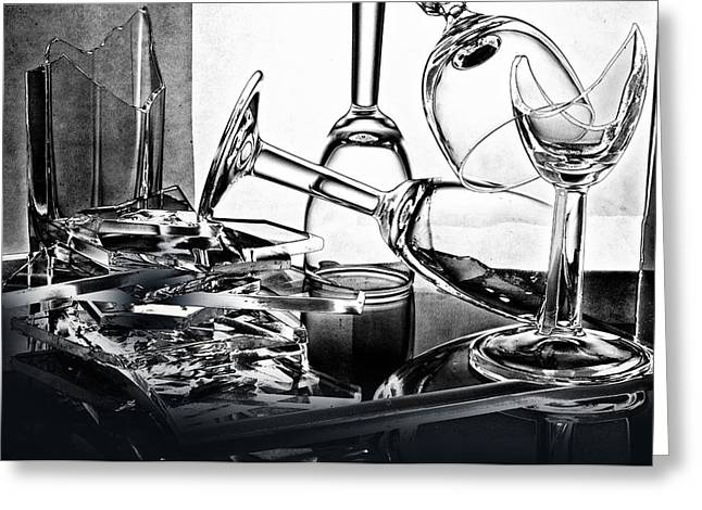 Distortion Glass Art Greeting Cards - Broken wine glasses Greeting Card by   larisa Fedotova