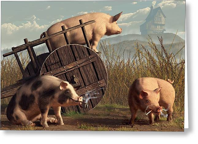 Barbeque Greeting Cards - Bad Pigs Greeting Card by Daniel Eskridge
