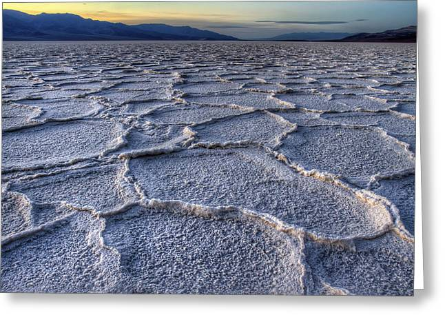 Dry Lake Greeting Cards - Bad Water at Sunset Death Valley Greeting Card by Pierre Leclerc Photography