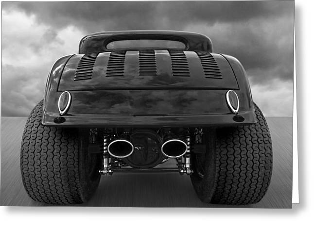 Monochrome Hot Rod Greeting Cards - Badass Greeting Card by Gill Billington