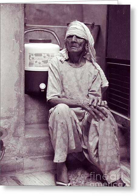 Baddi Amma Old Grandmother Greeting Card by Mukta Gupta