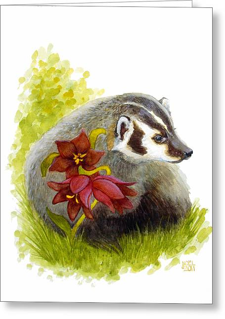 Hunters Moon Greeting Cards - Badger and Lilies Greeting Card by Catherine Noel