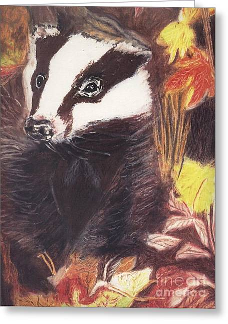 Fauna Pastels Greeting Cards - Badger in the fall. Greeting Card by Ann Fellows
