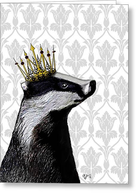 Badger King Greeting Card by Kelly McLaughlan