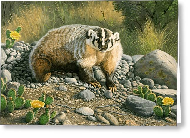 Wildlife Greeting Cards - Badger   Greeting Card by Paul Krapf