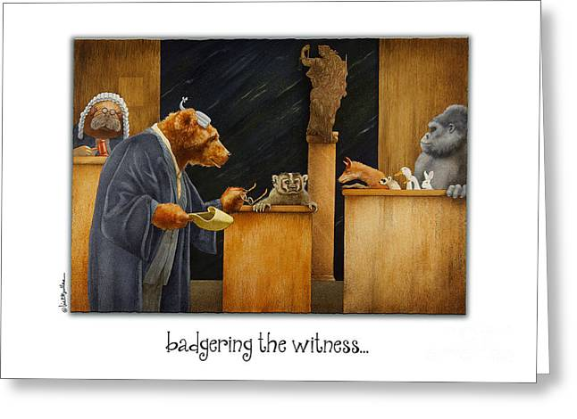 Trial Greeting Cards - Badgering The Witness... Greeting Card by Will Bullas