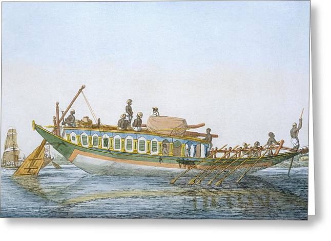 Rudders Greeting Cards - Badjera, A Cabined River Craft Greeting Card by Franz Balthazar Solvyns
